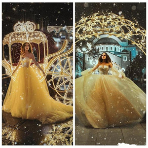 Sweetheart Lace Appliques A-Line Quinceanera Dresses Tulle 2021 Yellow Vestidos De Soiree Customized Junior 16 Years Prom Party Gowns