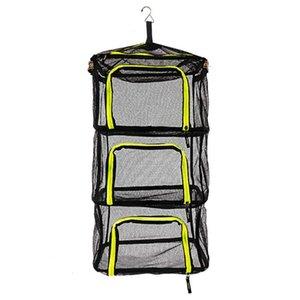 4 Layers Folding Drying Net Camping Storage Basket Vegetable Rack Fishing Basket Dip Nets Outdoor Fishing Tackle Gear Tools