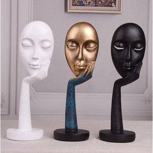 Decorative Resin Modern Human Meditators Abstract Lady Face Character Statues Sculpture Art Crafts Figurine Home Display