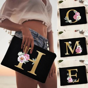 Storage Bags Bride Wedding Cosmetic Bag Floral Alphabet Printing Makeup Ladies Outgoing Travel Beach Tote Purse Gifts
