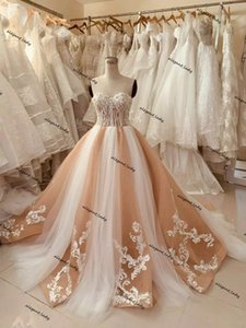 Champagne and White Wedding Dresses Sweetheart 2021 Lace-up Corset Top Crystal A-line Wedding Gowns Luxurious robes de mariée
