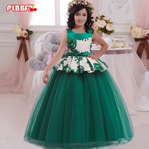 PLBBFZ FLOWER PRINCESS Vestido elegante niños vestidos para las niñas ropa para niños ropa de novia fiesta 10 12 años C0223