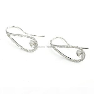 HOPEARL Jewelry Pearl Ear Wire Zircon Paved 925 Sterling Silver Earrings Mounting for Wedding Bridal 3 Pairs