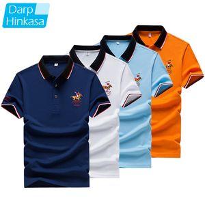 Darphinkasa verano nuevo hombres polo camisa bordado polo camisa hombres casual polo camisa sólido color manga corta 210306
