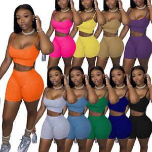Designer Sommer Frauen Trainingsanzug 2 Stück Set Shorts Outfits Feste Farbe Lässig Damen Kleidung Sexy Hosenträger Tops Anzug Plus Größe 2021