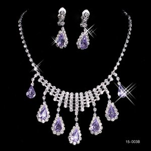 Charming Purple Wedding Bridal Sets Accessories Necklace Earring Set Party Jewelry for Wedding Party Bride