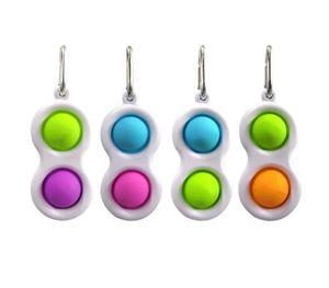 Push Bubble Keychain Kids Novel Fidget keychains Simple Dimple Toy Toys Key Holder Rings Bag Pendants decompression toy