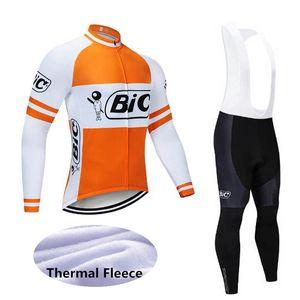 Bic Team Hommes Heureux Vélo Hiver Thermique Thermone Jersey Bib Pants Pantalons Pantalons à manches longues rapides Sèche-linge Vélo Sportswear E61504