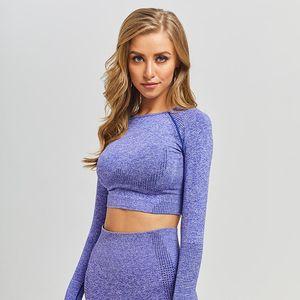 Vital Seamless Long Sleeve Crop Top Yoga Top Sportswear Gym Workout Short Sleeve Shirts Padded Push Up Sports Bra Workout Tops