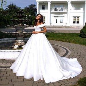 2021 Simple White Satin Wedding Dresses Boho Off the Shoulder Cheap Bridal Gowns Plus Size Marriage Vestidos De ZY345