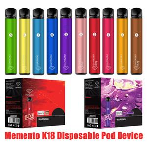 100% Original memento k18 disposable pod device 1500puff 850mah battery 4.8ml Pods Empty Vapors authntic VS air bar lux max DHL shipping