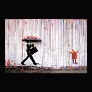 Colore Rain Banksy Wall Decor Art Canvas Pittura Calligrafia Poster Stampa Immagine Decorativa Soggiorno Decorazione per la casa