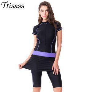 Trisass 2021 NUEVO Falda de dos piezas Traje de baño para mujeres deportes Traje de surf Tankini Pantalones largos Traje de baño con traje de baño de manga con cremallera