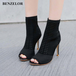 Benzelor 2018 Осень зима Новый Peep Toe Женская Обувь Женщина Сапоги Тонкая Супер Высокие каблуки Мода Дамы Boot Black N17 Y4NO #
