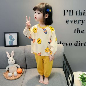 spring pajamas and autumn thin cotton super cute Girls' children's home clothes net red