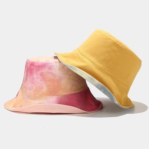 Multi-color tie dye buket hat for women 2020 New Sun protection caps for ladies Girls floppy bucket Caps printing Hip Hop Hats1