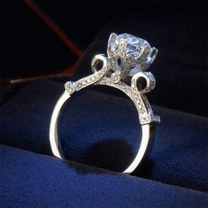 Мода Crown Обручальное кольцо для женщин Круглый нарезанный 3CT Имитация Diamond Diamond CZ 925 Стерлинговое серебро Женское Обручальное кольцо 55 R2