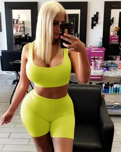 Two Piece Sets for Women Casual Ladies 2PCS Outfits U Neck Stretch Sports Womens Tracksuits Solid Color Sleeveless