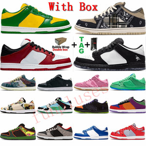 With Box 2021 Trend Fashion Mens Low Skateboarding Shoes Suede Bear Travis Scott 's Brazil Chicago Womens Sports Sneakers Outdoor Trainers