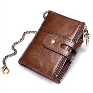 Wholesale retro double zipper tower buckle cowhide leather wallets men's chain wallet leathers coin purse 4721