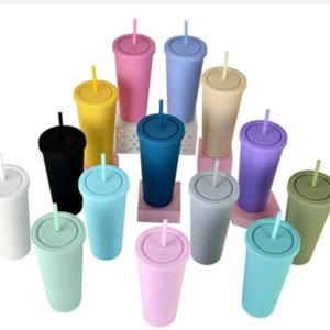22OZ Double Layer Plastic Tumbler with Straw Lid Sports Water Bottle Frosted Candy Color Coffee Mug Ice Water Cup Dual Wall Tumblers FY4489