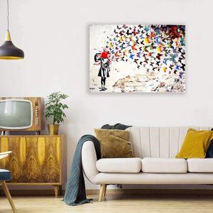 Banksy Headshot Butterfly Decoration Home Decoration Hand Stampa HD Stampa Olio Pittura a olio su tela Grande parete Art Immagine di tela 210220