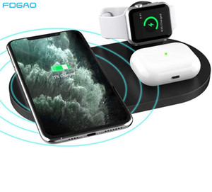 FDGAO 3 In 1 15W Wireless Charger Pad Qi Induction Fast Charging Dock for Watch 5 4 3 2 1 Airpods Pro iPhone 11 XS XR X 8 X0124