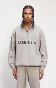 Nevoeiro Essentials Homens Mulheres Camisolas Metade Zip Streetwear Pulôver Pessoa Alto Jumpers Oversized Hip Hop Skates