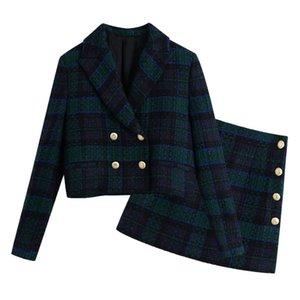 Two Piece Dress Elegant Plaid 2 Set Women Notched Neck Vintage Short Blazer Suits Button A Line Mini Skirt Sets Spring Autumn