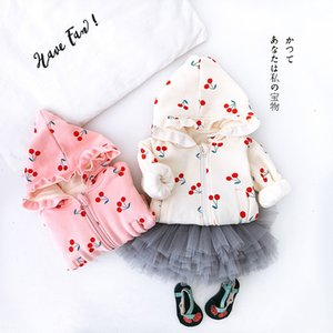 2021 New Winter Cute Baby Warm Coat Children Kids Fleece Hoodie Print Cherry Jacket Outerwear for Girls Thick Cardigan Ld62