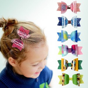 Sequin 3.1Inch Hair Bows Girls Hair Clips Clear Bowknot Kids Barrettes Leather Mermaid Baby BB Clip Children Hair Accessories B3978