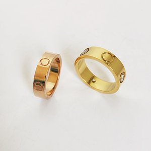 Luxury Designer Jewelry Women Rings Gold Love Ring with Diamond Stainless Steel Silver lover Wedding Engagement rings for couple Lover
