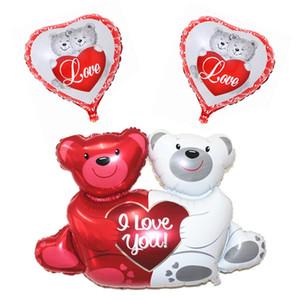 100x76cm Double Bear Hug Heart Balloons Foil Cartoon Bear I Love You Wedding Valentine's Day Event Party Balloon Decoration