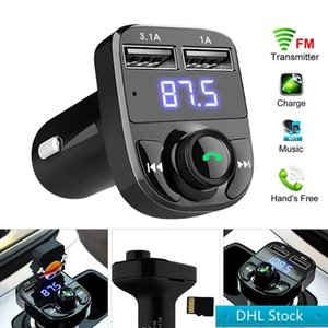 Stock DHL Free FM x8 Transmitter Aux Modulator Bluetooth Handsfree Car Kit Car Audio MP3 Player with 3.1A Quick Charge Dual USB Car Charger