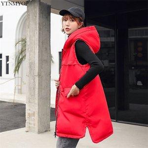 YTNMYOP Winter Long Waistcoat Women New Thick Warm Sleeveless Jacket Coat Autumn Gilet Solid Oversize Vest Outwear Tops T200820