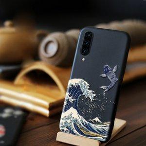 Pour Huawei Honor 20 Pro Case Cover Cover Funda Honor 20 Lite Coque Luxe 3D Emboss Sea Wave de Kanagawa Couple Soft Couple Housses de téléphone arrière