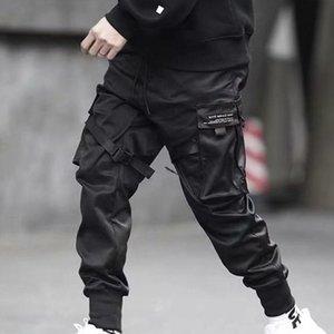 Мужские брюки хип-хоп мальчик многокарманский эластичный талию дизайн панк повседневные брюки Jogger Harem брюки мужские уличные носить мужской танцующий черный