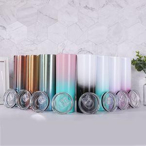 Gradient 20oz Skinny Tumbler Bottiglia d'acqua in acciaio inox Vacuum Aspirato Bicchieri isolati Tazze da caffè portatile Drinkware Mare Shipping T500470