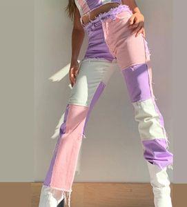 Patchwork Straight Women's Jeans Haggy Vintage High Cintura Highfriends Mamá Y2K Denim Denim Streetwear Streetwotty Femenino Iamhotty