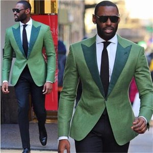 Men's Suits & Blazers 2021 Green Business Men 2 Pieces(Jacket Pant Tie) High Quality Slim Fit Blazer Formal Prom Terno Clothes Fashion