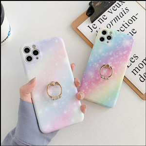 NEW Rainbow Gradient Starry sky Phone Case For iphone 11 Pro Max 7Plus 8 Plus XSMAX XR XS SE 2020 Soft IMD Marble Cover Coque