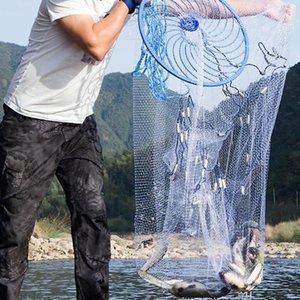 2.4 m / 7.87ft Çap Balıkçılık Döküm Net Mesh Yayılı Whire Yuva ABD El Atma Balık Naylon Ağ Spin Çapı Bait Pater