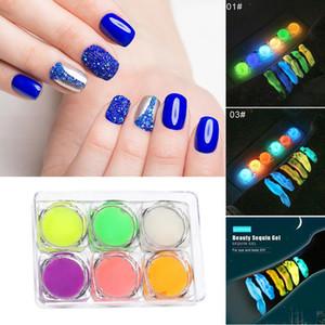 6pcs set Nail Luminous Gel Nail Fluorescent Gel for Party Club Manicure Body Art MH88