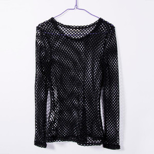 New Women Mesh Fishnet Long Sleeve Blouse Tops Black White Summer Ladies Blouses Shirts Bikini Cover Ups