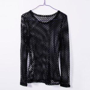 New Women Mesh Fishnet Long Sleeve Blouse Tops Black White Summer Ladies Blouses Shirts Bikini Cover Ups