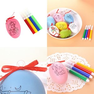 Plastic Colorful Egg Shell Kid DIY Graffiti Printing Flower Easter Eggs Colour Pen 5pcs Set Bardian Pendant Bow Hot Sale 0 69xd G2