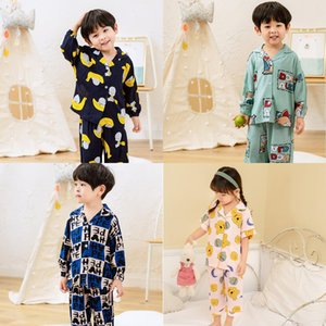 90-165Kids Children Cotton Pajamas Boys Girls Toddler Long Sleeve Skirt Top + Pants Sleepwear Comfort Nightwear Kids Home Clothes