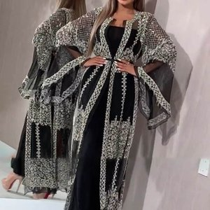 Abaya Dubai Muslim Dress High Class Sequins Embroidery Lace Ramadan Kaftan Islam Kimono Women banquet evening dress clothes clothing