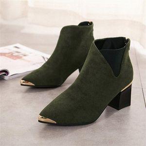 Botinhas de cootelili mujer botas de tornozelo para mulheres preto básico moda camurça botas de couro fêmea apontado toe e3uu #