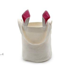 Sublimation Rabbit Ears Basket Party Linen Easter Bunny Bucket Candy Gift Storage Bag With Handle DWF11294